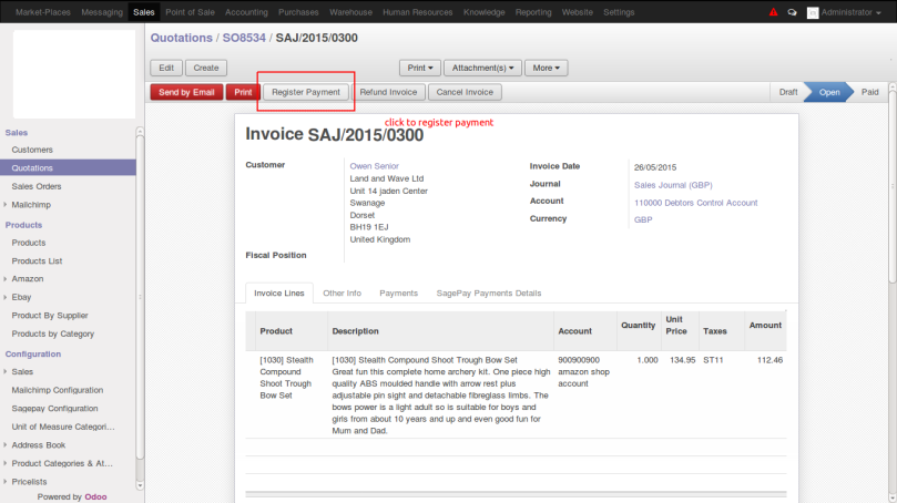 Odoo Invoice Screen